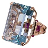 Haluoo Vintage Aquamarine Ring Sterling Silver Gemstone Turquoise Engagement Wedding Bands Emerald Cut Blue Rose Gold Jewelry for Lovers Size 6-10 (7, Rose Gold)
