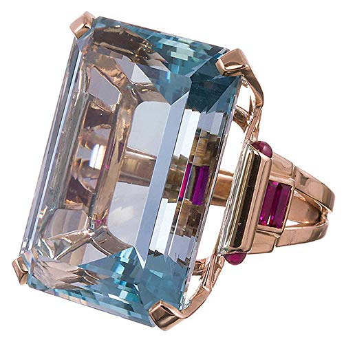 Haluoo Vintage Aquamarine Ring Sterling Silver Gemstone Turquoise Engagement Wedding Bands Emerald Cut Blue Rose Gold Jewelry for Lovers Size 6-10 (8, Rose Gold)
