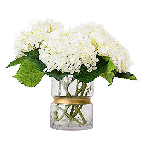 CEWOR 3pcs Artificial Hydrangea Flowers with 2pcs Fake Leaves Fake Silk Flowers for Home Wedding Garden Party Decor, (White) by CEWOR (Image #8)