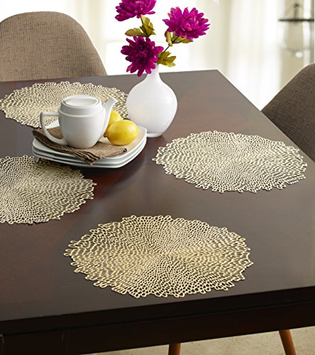 Benson Mills Blossom Pressed Vinyl Placemat, (Set of 4), 15.5 , Gold