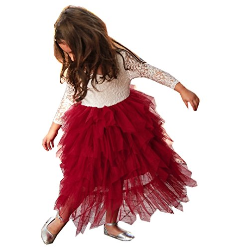 (ITFABS Toddler Baby Girl Tutu Lace Party Dress Flower Girl Dress Long Sleeve Princess Dress Kids Girl Floral Fashion Dress Clothes (White Red, 3-4)