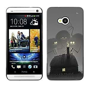 For HTC One M7 Case , Fairytale Drawing Monster Kids - Diseño Patrón Teléfono Caso Cubierta Case Bumper Duro Protección Case Cover Funda