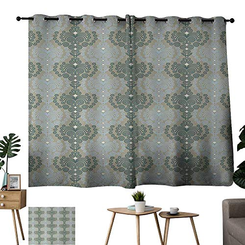 WinfreyDecor Floral Sliding Curtains Abstract Art Damask Desgin Floral Ornament Background Wallpaper Pattern Print for Living, Dining, Bedroom (Pair) 55