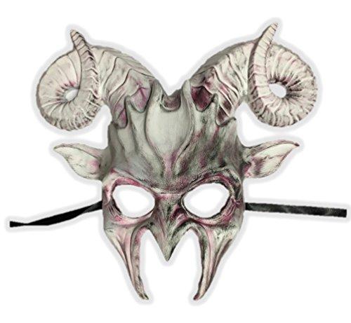 KBW Global Corp White N' Pink Goat Half Mask Horn Devil Adult Animal Venetian Costume Accessory