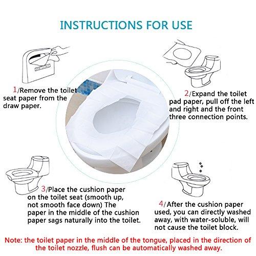 Housse Jetable de Siège de Toilette, XYXtech 250/PCS Siège de Toilette, Coussin de siège de toilette antibactérien pour les vieux, enfants, maman enceinte (soluble dans l'eau)