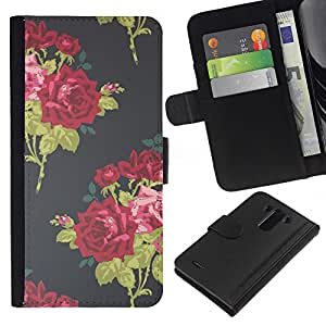 All Phone Most Case / Oferta Especial Cáscara Funda de cuero Monedero Cubierta de proteccion Caso / Wallet Case for LG G3 // Vignette Wallpaper Roses Bouquette