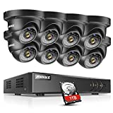 ANNKE Security DVR System 8+2 Channel 1080P Lite H.264+ DVR with 1TB HDD and (8) HD 720P Weatherproof CCTV Dome Cameras, Smart Playback, Instant email Alert with Image For Sale