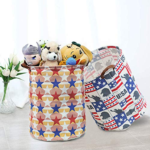 Homipooty Storage Bins,19.7 ″ Large Laundry Baskets-2 Packs, Collapsible Waterproof Laundry Hamper,Canvas Organizer Bin for Kids Toys, Home,Gift Baskets, Bedroom, Clothes, Baby Hamper (Star and Flag)