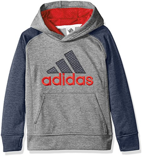 [adidas Little Boys' Athletic Pullover Hoodie, Mercury Grey Heather, 7] (Adidas Pullover Hooded Sweatshirt)