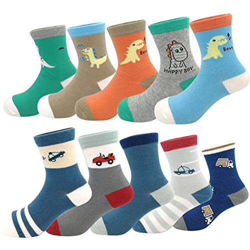 Baby Toddler Kids Little Boys Fashion Cotton Crew Socks 10 Pack (Size M(3-4T), Colorful) ()