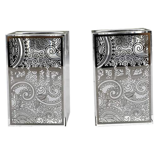 Judaica Place Crystal Glass Candle Holders Set Metal Shabbos Swirl Design - Pair of 2 - Candle Holder for Parties, Shabbat and Holidays