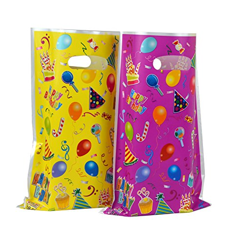(Plastic Party Favor Bags Assorted Colors 48 pcs)