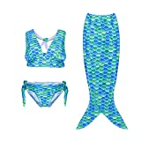 3pcs Fancy Children Swimmable Mermaid Tail Swimsuit Set Bikini
