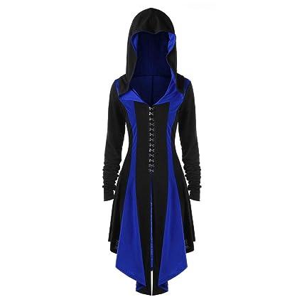 Easy Go Shopping Bruja de Halloween Bata para Mujer Sudaderas con Capucha Irregular Volver Vendaje Abrigo