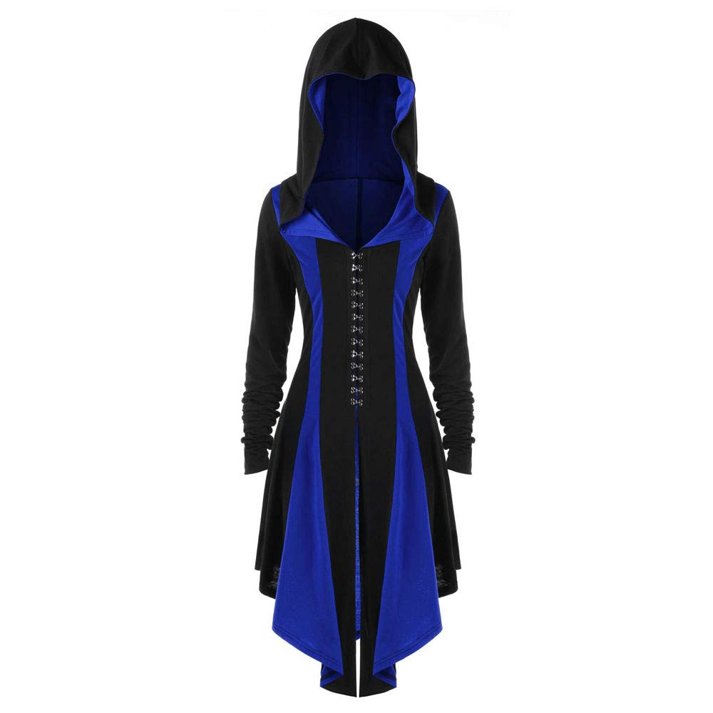 Kemilove Womens Halloween Costumes Hooded Robe Lace Up Vintage Pullover High Low Long Hoodie Dress Cloak