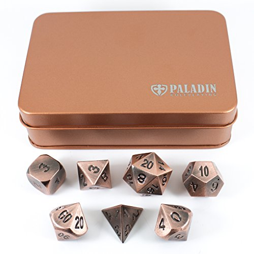 (Paladin Roleplaying Bronze Metal Dice - Full Polyhedral Set in Presentation Tin)