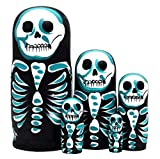 Debbieicy 5Pcs Beautiful Handmade Wooden Russian Nesting Dolls Skull Matryoshka dolls Gift for Halloween and Birthday - Stacking Doll Set of 5 From 6.3'' Tall