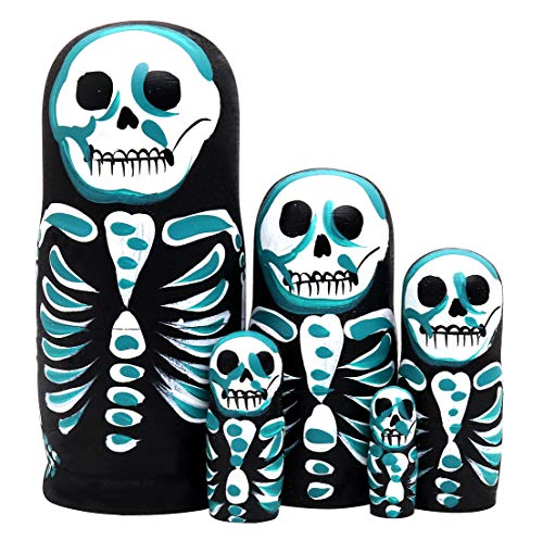Debbieicy 5Pcs Beautiful Handmade Wooden Russian Nesting Dolls Skull Matryoshka dolls Gift for Halloween and Birthday - Stacking Doll Set of 5 From 6.3