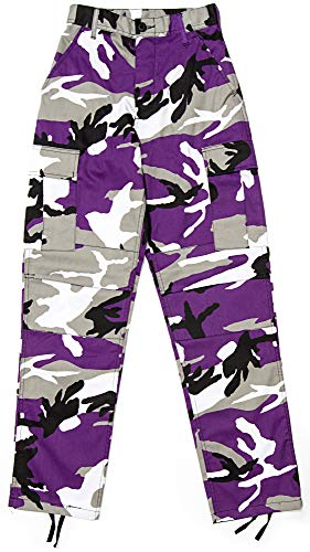 Army Universe Mens Purple Camo Tactical Camouflage Military BDU Cargo Pants with Pin - M (34