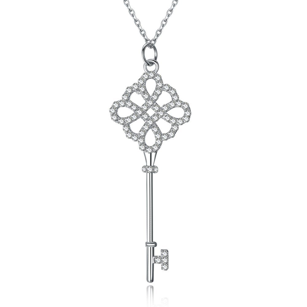 YJEdward Little Girls Key Pendant Beautiful Flower Jewelry 925 Silver Simple Love Birthday Gifts