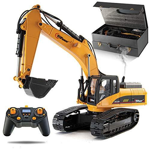 Top Race 23 Channel Hobby Remote Control Excavator, Construction Vehicle RC Tractor, Full Metal Excavator Toy, Carries 180 Lbs, Diggs 1.1 Lbs Per Cubic Inch, Real Smoke, Use with Our RC Dump Truck from Top Race