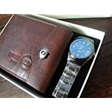 MENS TWO PIECE LUXURY BOX SET GENUINE LEATHER BI FOLD WALLET AND BLUE FACE STYLISH WRIST WATCH BY VALEN by unique gift shop