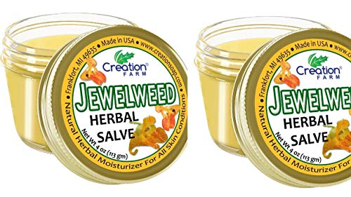 (Jewelweed Poison Ivy Itch Relief Salve, Balm Soothes Insect Bites and Bee Stings 2 Pack (2-4oz Jars) by Creation Farm)