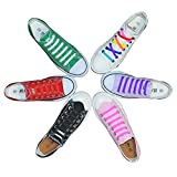 Flat Elastic No Tie Lazy Shoelaces for Running Athletic Men Women Kids (Rainbow (colors in random))