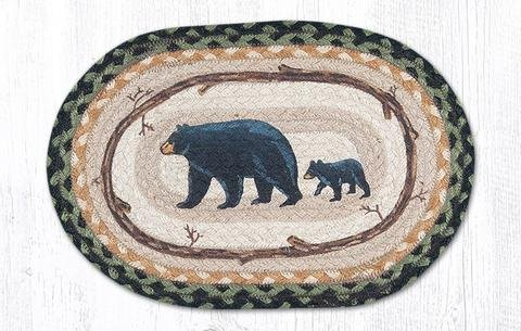 10''x15'' Black/Mustard/Cream Mama and Baby Bear Oval Small Placemat, Set of 4