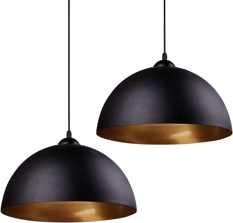 Frideko Modern Black Pendant Light 2 Pack Metal Gold Lamp Shade Cord Kit Farmhouse Industrial Hanging Pendant Barn Light Fixtures Ceiling For Kitchen Island 30cm Amazon Ca Home Kitchen