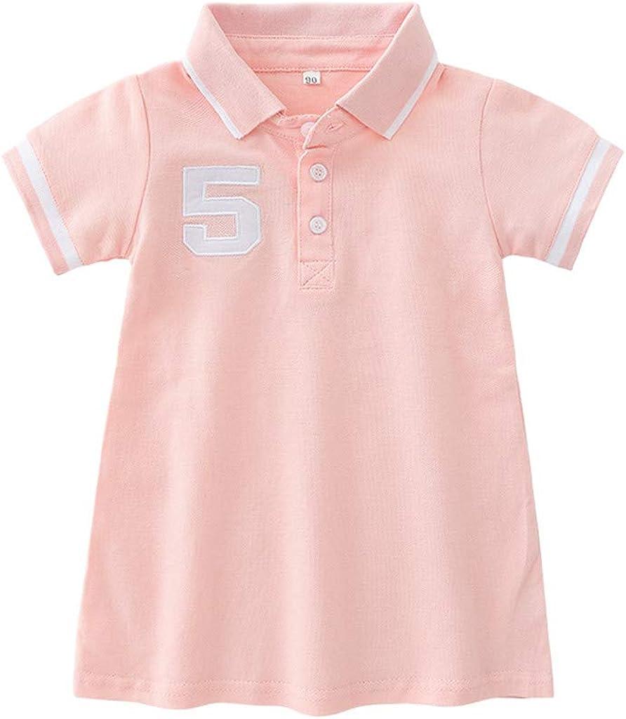 Summer Princess Girls Dress Baby Kids Little Girls Striped Short Sleeve Button Sport Casual Princess Dress Jchen TM