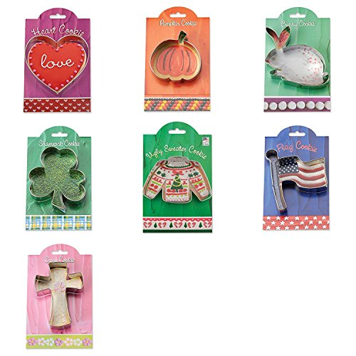Ann Clark Cookie and Fondant Cutters - Heart - Pumpkin - Easter Bunny - Shamrock - Ugly Sweater - US Flag - Fleue de Lis Cross