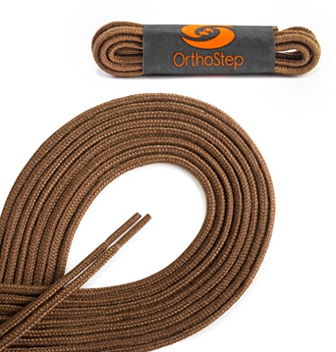OrthoStep Round Dress Very Thin Light Brown 36 inch Shoelaces 2 Pair - Brown And Round