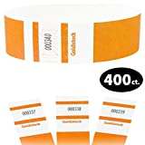Goldistock Maximum Security One Inch Tyvek Wristbands Select Series Sun Glow Orange 400 Count - Event Identification Bands (Paper - Like Texture)