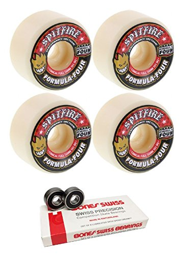 56 mm Spitfire Wheels Formula Four Conical FullスケートボードWheels with Bones Bearings – 8 mm Bones Swiss Skateboard Bearings – 2アイテムのバンドル   B06VVYH189