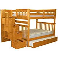 Bedz King Stairway Bunk Beds Full over Full with 4 Drawers in the Steps and a Full Trundle, Honey