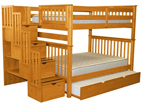 Bedz King Stairway Bunk Beds Full over Full with 4 Drawers in the Steps and a Twin Trundle, Honey