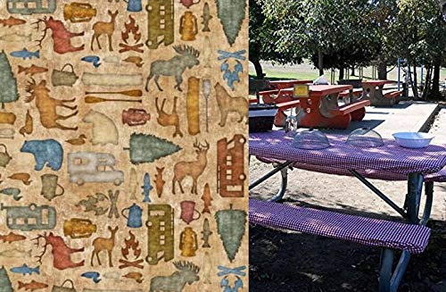 Custom Stay Put Reusable Fabric Fitted Tablecloth for Picnic, RV or Camping Bench 3 Piece Set, Table and 2 bench set.