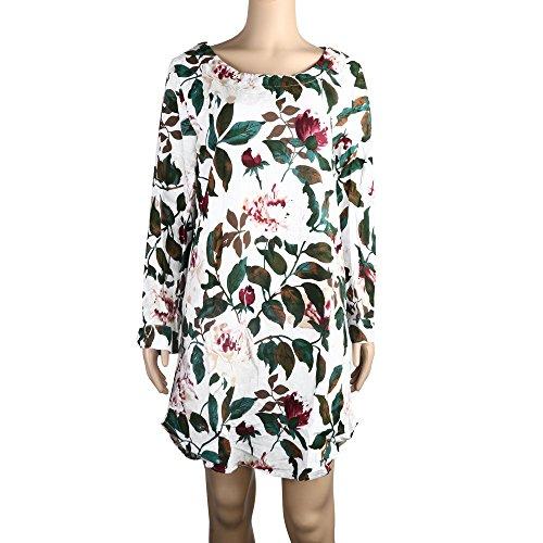 Lelili Women Plus Size Cotton Linen Floral Printed Curved Hem Mini Dress O-Neck Long Sleeve Loose T-Shirt Dress ()