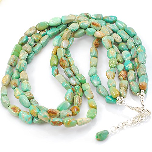 3 Strands Natural Green Turquoise Nugget Silver Tone Necklace - Green Turquoise Nugget Necklace