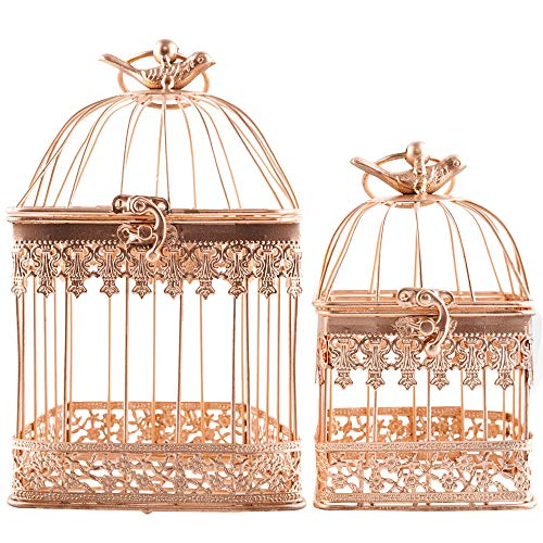 LONGBLE 2Pcs Metal Wedding Birdcages Gifts Card Holder Vintage Decorative Gold Hanging Candle Latern Beautiful Wedding Reception Piece Bird Cages for Small Birds Home Decorations Party -