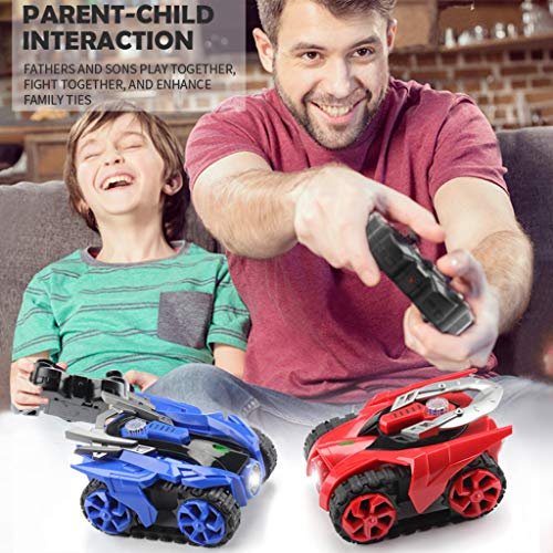 Voberry RC Cars for Boys, 2PCS Remote Control Car 2.4G Rechargeable Electric RC Toy Car Tank Double Battle Armored RC Car with Infrared Crawling Toy (Blue Red)