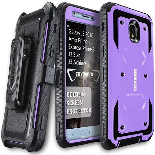 Galaxy J3 (2018)/Express Prime 3/Achieve/J3 Star/Amp Prime 3 Case, COVRWARE [Aegis Series] w/Built-in [Screen Protector] Heavy Duty Full-Body Armor Case [Belt Clip Holster][Kickstand], Purple
