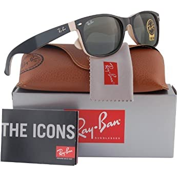 a5e3f6a2c1 Ray-Ban RB2132 New Wayfarer Sunglasses Shiny Black Beige (875) RB 2132