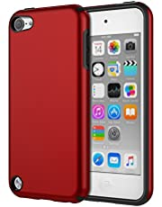 MoKo Case Fit iPod Touch 2019 Released iPod Touch 7 / iPod Touch 6 / iPod Touch 5, 2 in 1 Shock Absorbing TPU Bumper Ultra Slim Protective Case with Hard Back Cover - Red