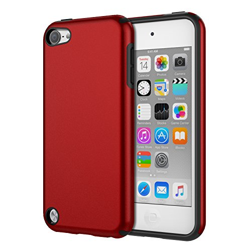 (MoKo Case Fit iPod Touch 2019 Released iPod Touch 7 / iPod Touch 6 / iPod Touch 5, 2 in 1 Shock Absorbing TPU Bumper Ultra Slim Protective Case with Hard Back Cover - Red )