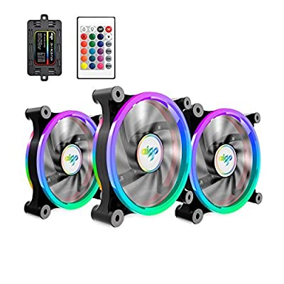 120mm aigo Computer Case PC Cooling Fan, RGB LED Quiet High Airflow Adjustable Color LED Fan, CPU Cooler and Radiator Support Intel AMD DIY MOD AM4 Rrzen
