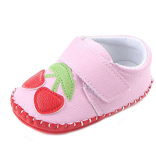 Lidiano Baby Non Slip Rubber Sole Cartoon Walking Slippers Crib Shoes Infant/Toddler (12-18 Months, Pink (Toddler Infant Soft Pink Shoes)