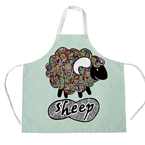 Indie 3D Printed Cotton Linen Apron,Hipster Doodle Funny Sheep with Colorful Spiral Swirls Drawing Style Comic Country,for Cooking Baking Gardening,Multicolor