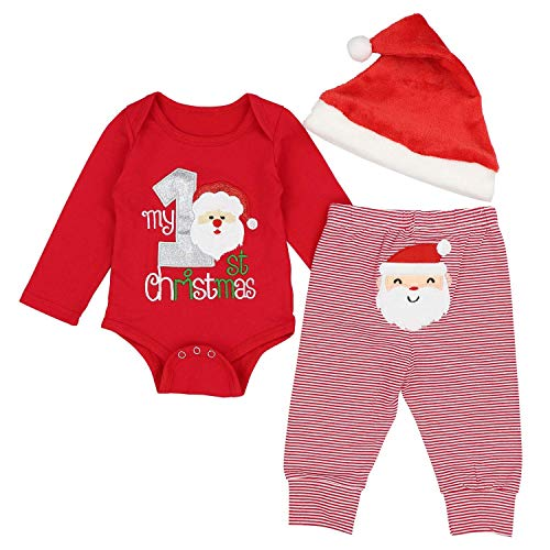 Dofel Christmas Baby Boys Girls Outfit My 1st Christmas Santa Rompers Bodysuit and Stripe Santa Claus Print Pants with Christmas Hat (Red Santa, 6-9 Month)
